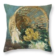 Chrysanthemums Or The Overturned Basket Throw Pillow