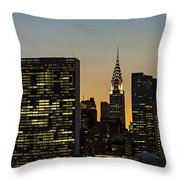 Chrysler And Un Buildings Sunset Throw Pillow