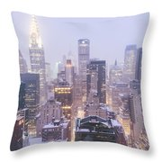 Chrysler Building And Skyscrapers Covered In Snow - New York City Throw Pillow