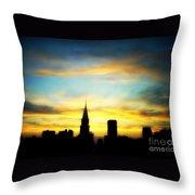 Chrysler Skyline With Incredible Sunset Throw Pillow