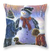 Chubby Snowman  Throw Pillow