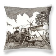 Chuckwagon Cattle Drive Breakfast Throw Pillow