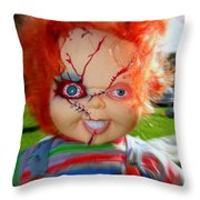 Chuckys Coming Throw Pillow