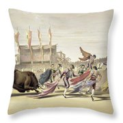 Chulos Playing The Bull, 1865 Throw Pillow