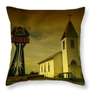 Church And Casino Those Two Angels  Throw Pillow