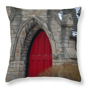 Church And The Red Door Throw Pillow