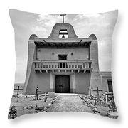 Church At San Ildefonso - Bw Throw Pillow