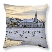 Church By Tjornin Pond Throw Pillow