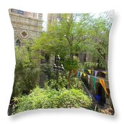 Church Courtyard Throw Pillow
