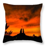 Church Cross Lit By Tucson Sunset Throw Pillow