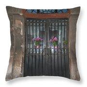 Church Doors And Flowers Throw Pillow