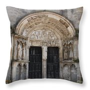 Church Entrance - St  Thibault Throw Pillow