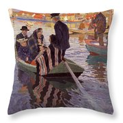 Church-goers In A Boat Throw Pillow