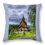 Church In Norway Throw Pillow