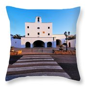 Church In Sant Josep Town On Ibiza Island Throw Pillow