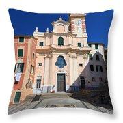 church in Sori. Italy Throw Pillow
