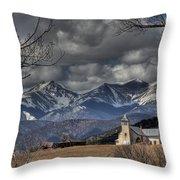 Church In The Hills Throw Pillow