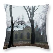 Church In The Misty Woods Throw Pillow