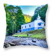 Church In The Mountains By The River Throw Pillow