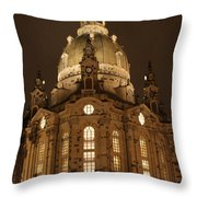 Church Of Our Lady At Night  -  Dresden - Germany Throw Pillow