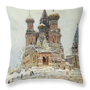 Church Of St. Basil In Moscow Throw Pillow