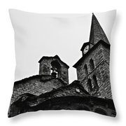 Church Of The Assumption Of Mary In Bossost - Abse And Tower Bw Throw Pillow