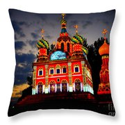 Church Of The Savior On Spilled Blood Lantern At Sunset Throw Pillow