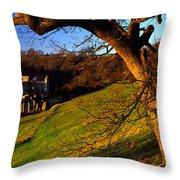 Church On A Landscape, Rievaulx Abbey Throw Pillow