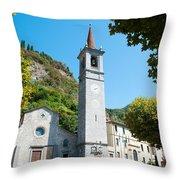 Church On Main Square, Varenna, Lake Throw Pillow