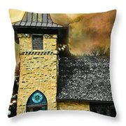 Church Painted Effect Throw Pillow