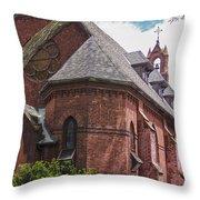 Church Red Door Throw Pillow