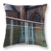Church Seen Through A Transperant Screen  Throw Pillow