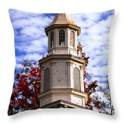 Church Steeple In Autumn Blue Sky Clouds Fine Art Prints As Gift For The Holidays Throw Pillow