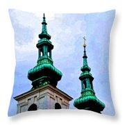 Church Steeples - Bratislava Throw Pillow