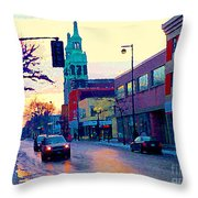 Church Street In Winter Melting Snow Sunset Reflections Montreal Urban City Landscape Scene Cspandau Throw Pillow