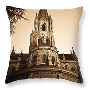 Church Towere In Sepia 1 Throw Pillow