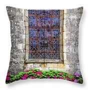 Church Window In Brittany Throw Pillow