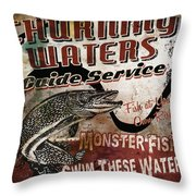 Churning Waters Sign Throw Pillow