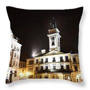 Cieszyn Town Center At Night Throw Pillow