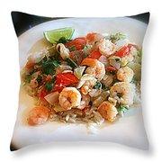 Cilantro Lime Shrimp Throw Pillow