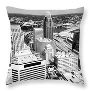 Cincinnati Aerial Skyline Black And White Picture Throw Pillow