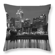 Cincinnati Black And White Night Throw Pillow
