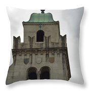 Cincinnati Church With Angel Carving And Bronze Cross Throw Pillow