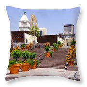 Cincinnati Downtown Central Business District Throw Pillow by Paul Velgos