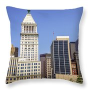 Cincinnati Downtown City Buildings Business District Throw Pillow by Paul Velgos