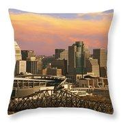 Cincinnati Over The Bridge Throw Pillow