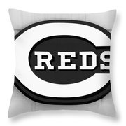 Cincinnati Reds Sign Black And White Picture Throw Pillow