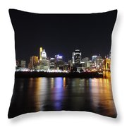 Cincinnati Skyline At Night From Covington Kentucky Throw Pillow