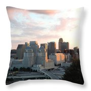 Cincinnati Skyline At Sunset Form The Top Of Mount Adams 2 Throw Pillow
