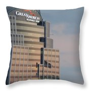 Cincinnati Skyline At Sunset Form The Top Of Mount Adams 3 Throw Pillow